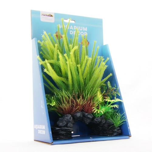 Dekoracja Yusee  - sztuczne rośliny zielone na skale (18x9x30cm)