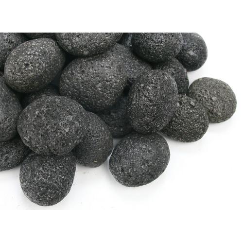Kamienie otoczaki Black Lava Pebbles [1kg] - czarna lawa (rozmiar 2 - 2.5cm)