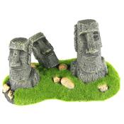 MOAI - posąg z wyspy wielkanocnej (3 głowy z mchem) 21x11,5x13cm