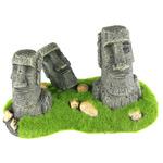 MOAI - Posąg z Wyspy Wielkanocnej 3 GŁOWY z mchem 21x11,5x13cm