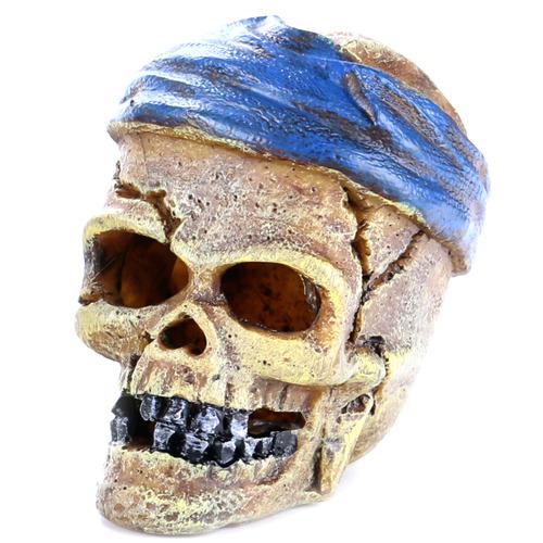 PIRATE SKULL HEAD-CRACK - Czaszka przepaska NIEBIESKA 7,2x6x7,8cm