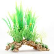 Roślina sztuczna Yusee - kępa Traw z jaskinią XL (20x14x33cm)