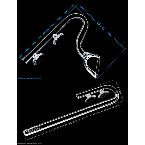 Szklane rurki - zestaw 16/22mm: KIELICH + wlot 32cm