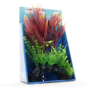 Sztuczna roślina Yusee - rośliny liściaste na skale (18x9x30cm)