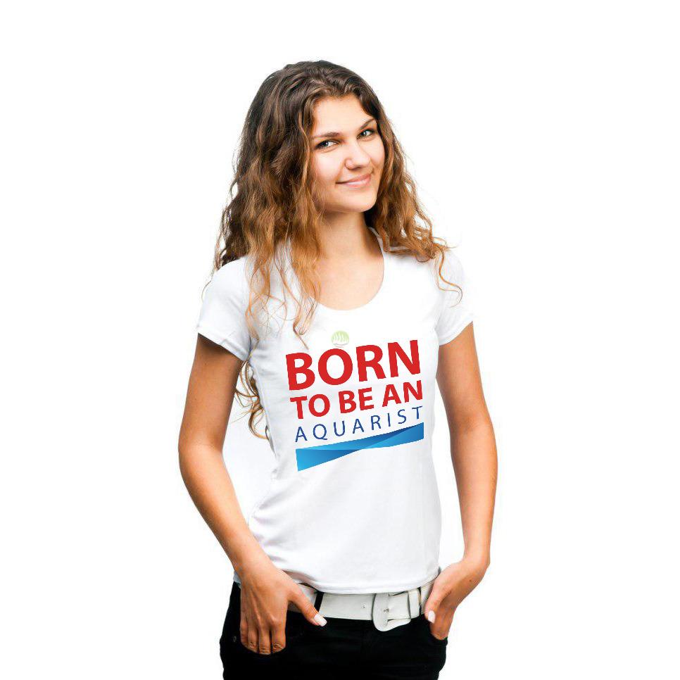 T-shirt damski BORN TO BE AN AQUARIST - biały