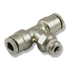 Trójnik metalowy T [6mm] - szybkozłączkami i gwintem 1/8