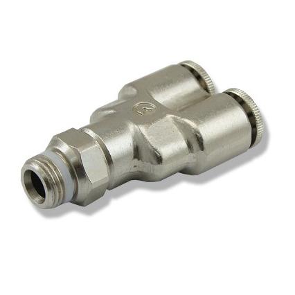 Trójnik metalowy Y [6mm] -  szybkozłączkami i gwintem 1/8