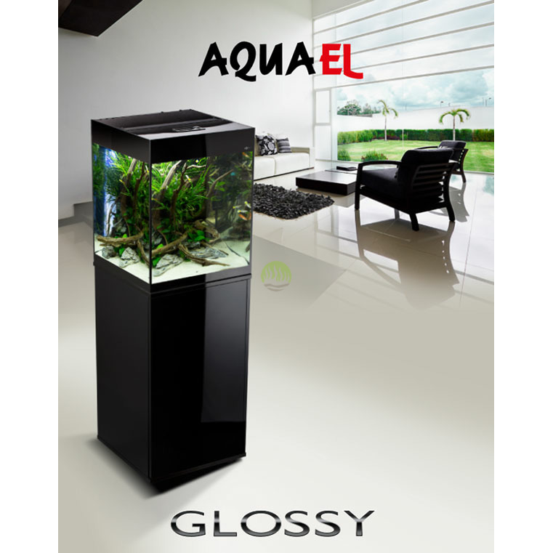 Zestaw AquaEL Glossy Cube (50x50x63cm, 135l) - czarny (odbiór osobisty)